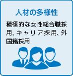 人材の多様性 積極的な女性総合職採用、キャリア採用、外国籍採用
